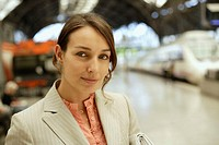 Businesswoman at the Train Station
