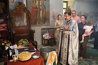 Ceremony of baptism. Tcherepich monastery. Bulgaria.