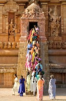 the stairway leading to the sancto sanctorum of the beautiful brihadishwara temple in Tanjore, Tamil Nadu. A beautiful and fascinating  Chola temple a...