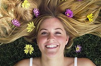 Teen girl with flowers in her hair