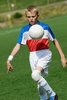 Close-up of a soccer player playing with a soccer ball