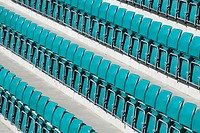High angle view of seats in a stadium