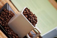 High angle view of coffee beans in a cup