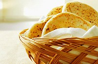 Close-up of bread in a basket