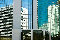 Reflection of buildings on glass, Miami, Florida, USA
