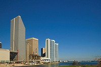 Low angle view of buildings at the waterfront, Miami, Florida, USA