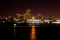 Buildings at the waterfront lit up at night, Miami, Florida, USA