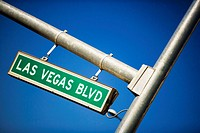 Low angle view of a sign board, Las Vegas, Nevada, USA