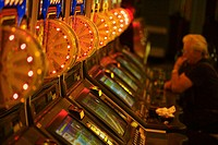 Side profile of a person sitting in a casino, Las Vegas, Nevada, USA