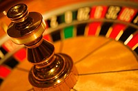 Close-up of a roulette wheel in a casino, Las Vegas, Nevada, USA