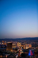 Aerial view of buildings in a city at dusk, Las Vegas, Nevada, USA