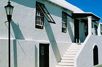Side view of a white building, St. Georges, Bermuda