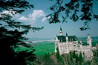 High angle view of a castle, Neuschwanstein Castle, Bavaria, Germany