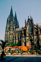 Sidewalk cafe in front of a cathedral, Cologne Cathedral, Cologne, Germany