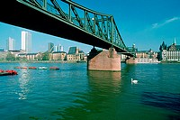 Cantilever bridge across a river, Main River, Frankfurt, Germany