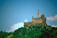 Castle overlooking a river, Marksburg Castle, Rhine River, Germany