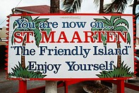 Front view of a hoarding displaying the destination, St. Martin