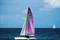 A sailboat participates in the Heiniken Regatta on the Dutch side of the island of St. Maarten in the Caribbean
