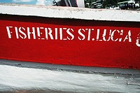 Side view of a fishing boat bearing a nameplate, St. Lucia