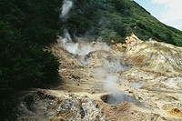 View of an active sulphur volcano on the island of St. Lucia