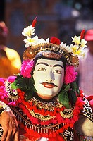 Close-up of a stage performer wearing a costume, Bali, Indonesia