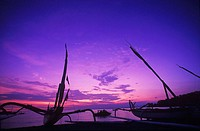 Silhouette of boats at dusk, Bali, Indonesia