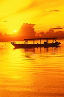 Silhouette of a boat in the sea, Bali, Indonesia