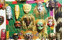 Close-up of masks hanging on a wall, Bali, Indonesia