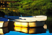 Reflection of boats in a lake, Cape Cod, Massachusetts, USA