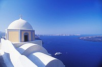 High section view of a church, Santorini, Cyclades Islands, Greece