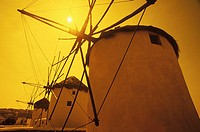 Low angle view of traditional windmills