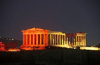Old ruin colonnades at night, Parthenon, Athens, Greece