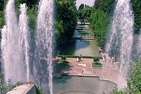 High angle view of fountains in a garden, Tivoli Gardens, Villa d Este, Rome, Italy
