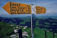 Close-up of a directional sign, Swiss alps, Switzerland