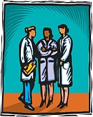 Three female healthcare professionals talking