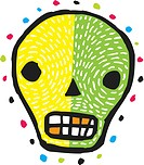 An illustration of a green and yellow skull