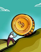 A man pushing a giant coin uphill (thumbnail)
