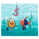 A graphic representation of fish as businessmen eyeing a dollar-sign bait (thumbnail)