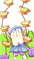 A man balancing tea cups with sticks