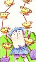 A man balancing tea cups with sticks