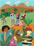 An illustration of people harvesting food