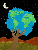 A tree with foliage in the shape of the earth (thumbnail)