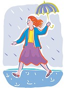 A woman walking to work in a rain shower