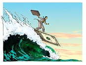 businessman surfing on a dollar surf board