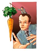 A little man dangling a carrot in front of a businessman