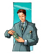 A businessman counting his money