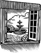 The view of a fountain in the garden outside of a window shown in black and white