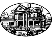 An black and white illustration of a colonial mansion (thumbnail)