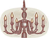 Oval shaped picture of a chandelier (thumbnail)