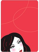 Womans face on red background